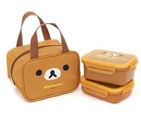 韓版 韓國制 RILAKKUMA 鬆弛熊兩段式方型不銹鋼密實午餐食物合連手抽保温袋