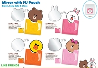 Line-Friends-Choco-Brown-Cony-Sally-Mirrior-with-Pu-Pouch-鏡子連套-照價9折-港版正品