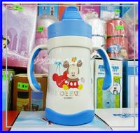 ㊣Disney Mickey 米奇雙耳真空吸管保溫水壼 保温瓶 兒童學習杯 250ml-3226