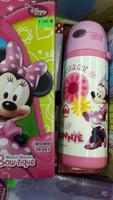 Disney Minnie 米妮 兒童用品 按制保險開關吊帶保溫真空不鏽鋼壺 防漏 保冷 水壺 400ml_20161128E