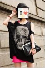 T11181113 ([包郵)街拍潮範大骷髏亮鑽露肩大碼 長款T恤