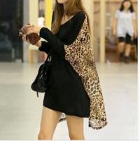 C09112913 (包郵)時尚韓版純色拼接豹紋雪紡寬松T恤