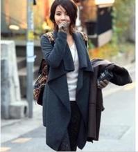 V12111813 (包郵)韓版時尚簡潔不規則開衫大碼呢子外套 中長款