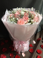 11枝粉色玫瑰鮮花束#A1501019