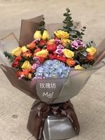 19枝黃玫瑰繡球特式花束#A1877