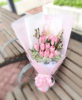 母親節12枝粉色鬱金香花束 #Y019
