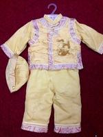 新年 唐裝 燙鑽金龍男童禮服套裝 - 金色 賀年衫