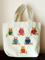 貓頭鷹小手挽袋  飯袋  手作  DIY