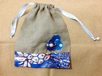 DIY 束口袋 索繩袋 藍花