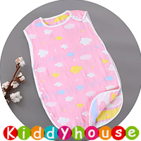 BB嬰兒用品~6層純棉紗布防踢被背心睡袋(粉彩雲)40x60cm BB1511 現貨