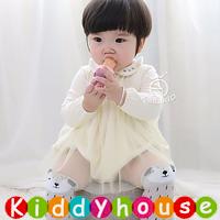 嬰兒秋冬裝BB衫~百日宴小公主柔軟棉+網紗宴會夾衣裙(米) BB1452 現貨