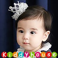【限時特價】百日宴bb嬰兒/女童新賀年髮飾物用品~小公主立體網紗皇冠髮夾(銀) Toddler Crown Hair Clip H439 現貨