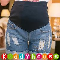 online香港孕婦時裝服飾專門店hk~休閒孕婦托腹牛仔短褲 MB065 現貨