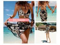 <最後一套> 型格夏威夷花分體裙式三件比基尼泳衣