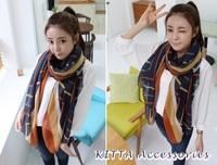 【秋冬女裝】韓國幾何斜紋圖案圍巾 絲巾 披肩 6407