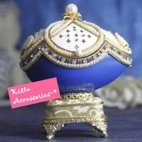 情人節女朋友禮物 - 皇家藍色蛋雕首飾音樂盒(配日本sankyo機芯)
