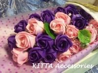 2018新款求婚香皂花束 - 27朵一生一世粉紅紫色玫瑰花束 [網上訂花 情人節 畢業 生日 結婚週年 花束]