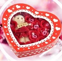 ❤ 聖誕特別版 ❤ 香皂玫瑰花(18朵)熊仔心心禮盒