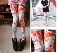 【現貨】35001 橙色塗鴉顯瘦印花褲 Legging
