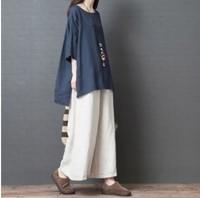 香港大碼女裝 大碼女裝衫 特大碼女裝棉麻寛鬆短袖大碼上衣