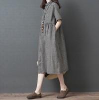 大碼女裝專門店 大碼衫 加大碼 格子棉麻色短袖翻領大碼連身裙