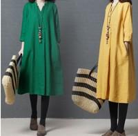 大碼女裝 大碼女裝衫專門店 大碼衫 加大碼文藝舒適V領寬鬆長款連衣裙
