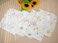 (向日葵小屋) 日本 高密度 多功能印花紗巾 五枚入 不同花色的紗巾 32x32cm 022