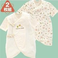 (向日葵小屋)日本原裝長袖純棉和尚衣嬰兒長袖夾衣 蝴蝶衣 和尚袍 (2枚入) 60-70碼 104327
