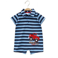 (已售完) 嬰兒夏季 純棉藍黑間有領四驅車 短袖夾衣 (105152)