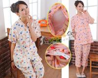 ((已售完)) 孕婦時裝 日本優質雙層紗巾透氣吸汗100%綿 孕婦產前產後月子服 哺乳套裝睡衣 餵奶服(短袖+中褲) KOH2