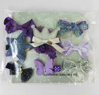 (向日葵小屋)香港孕婦及嬰幼兒專門店/歐美/出口/兒童髮夾/嬰兒髮飾/公主/全包布夾 /髮飾禮盒/十件套裝/禮物/藍色/絲帶/毛毛/星星/派對/紫色套裝