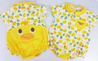 (向日葵小屋)香港孕婦及嬰幼兒專門店/嬰兒滿印公仔/立體黃鴨造型/包P/短袖夾衣/連體衣/BB衫/70碼 #105737