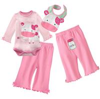 ((向日葵小屋)) 嬰兒春季 純棉可愛粉紅色牛牛 長袖3件套 三角包P夾衣+長褲+口水肩 (104707)