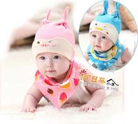 (向日葵小屋)香港孕婦及嬰幼兒專門店/韓國公主媽媽/可愛小雞年卡通/套頭帽 嬰兒胎帽 +口水肩 2件套裝/3色選/#105045