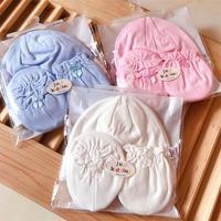 (向日葵小屋) 新生兒BB帽 初生嬰兒胎帽+防抓手套+腳套 (0-6個月) 一set/3件 超值裝 106034