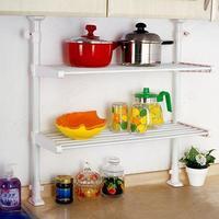 頂天立地廚房可伸縮雙層置物架/ 免釘可伸縮調味收納架/ 雙層架置物掛架