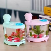 創意USB迷你桌面小魚缸加濕器 / 迷你家用空氣加濕淨化器 / 小夜燈水族箱