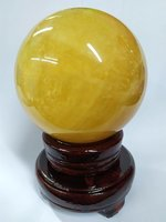 (實拍圖片) 全新95~100mm高質天然黃水晶球, 風水擺設, 招橫財, 聚集財富, 家居, 公司, 店舖均合適 #02