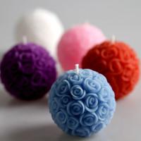 玫瑰花球蠟燭 白色紅色藍色紫色粉紅玫瑰花 結婚禮物 回禮
