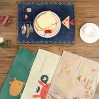 日系 棉麻 餐枱墊/卡通枱墊/ 餐桌墊/ 摺疊式 餐墊/兒童上學用品/ 隔熱墊