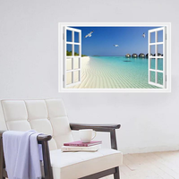 3D立體牆貼 藍天海灘 AF5005
