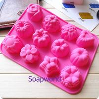 12花軟膠皂模 (矽膠) 手工皂模  擴香石模