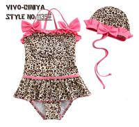 New Kids Leopard One Piece Bow Swimsuits + Swim Cap 4Y/5Y 全新女童豹紋泳衣+泳帽