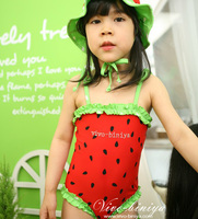 New Girls Fruit Watermelon One Piece Swimsuits with Cap 全新女童西瓜泳衣+太陽泳帽