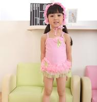 New Kids Ballerina Tutu Skirted One Piece Swimsuits with Swim Cap PINK 全新女童泳衣+太陽