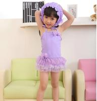 New Kids Ballerina Tutu One Piece Swimsuits with Swim Cap PURPLE 全新女童泳衣+太陽泳帽