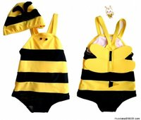 New Bee Costume Swimsuits with cap 小蜜蜂造型泳衣+泳帽