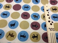 1054D 手工藝布料 台灣純棉花布 - 小黑貓 - 米黃色-只剩1份
