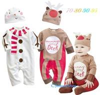 出口 bb用品 童裝 聖誕 裝 老人 雪人 造型 長袖 嬰兒 哈衣 爬服 連身衣 連帽 夾衣 $69