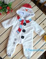 千趣會 bb 可愛 聖誕 雪人 厚棉 羊羔絨 哈衣 爬服 造型 連身衣 連帽 夾衣 $85
